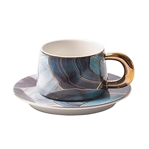 XDYNJYNL Copa de café de cerámica y conjunto de platillos, 8.11oz / 240ml Capuchino de leche grande creativo tazas de cazas de cóctel con mango taza de té de bebida taza de beber tumblers de consumo d