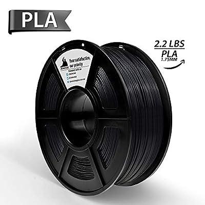 Dark Black PLA 3D Printer Filament 1.75 mm 1KG Spool(2.2lbs), Dimensional Accuracy +/- 0.02 mm,3D Printing Filament Black PLA
