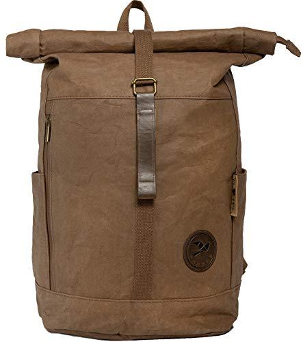 Papero ® Rucksack aus Kraft- Papier | Ultra minimalistisch Herren Damen, robust & wasserfest, Veganer nachhaltiger Urban Style FSC Zertifiziert | als Daypack, Rolltop, Laptopfach für Uni (Braun)