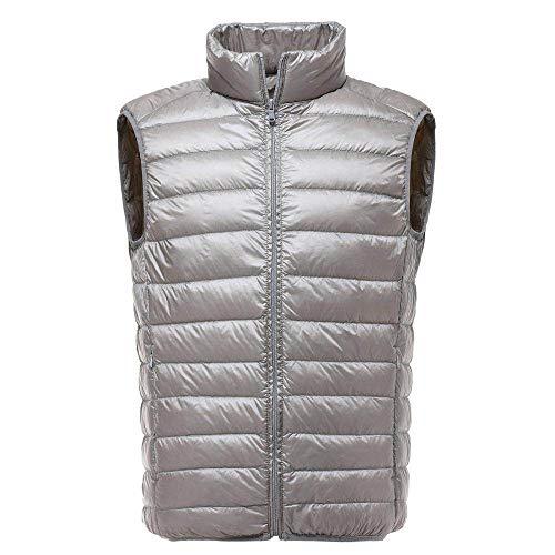 BAONUANY Gilet Mensen, Zilver Mannen Mouwloos Jas Winter Ultralight Witte Eend Down Vest Mannelijke Slim Vest Herenkleding Winddicht Warm Tailleband