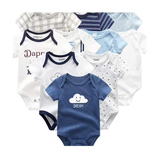 10PCS Baby Boy Clothes Set Cotton Newborn Unisex Cartoon Solid Jumpsuit