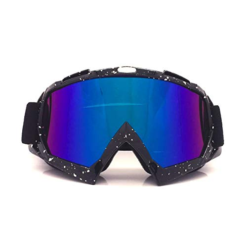 Jiele Motocross Goggles Motorrad Bike Skibrille Radfahren Off-Road Goggles Windproof, Staubdicht,UV 400 Schutz Objektiv Flexible OTG Rahmen Wintersport Outdoor Adult Motocross Goggles (Schwarz)