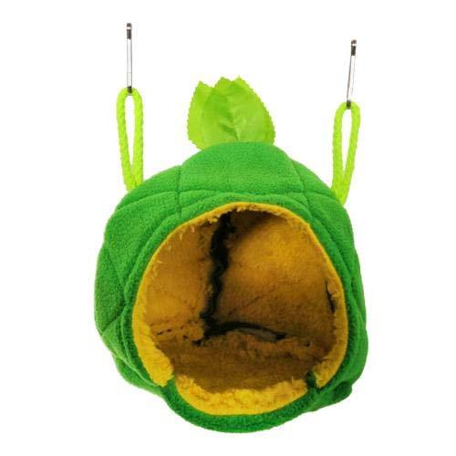 FSHB Warmes Haus Hängendes Bett Kleines Haustier Nest Cartoon Fruchtform Meerschweinchen Igel, Grün