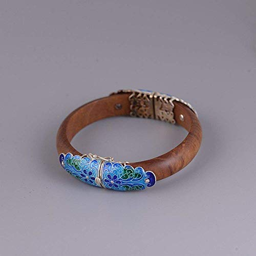 YBB-YB LXX-LX S925 Ladies Vintage Silver Bracelet Burned Blue Cloisonne Sandalwood Creative Carving Temperament Personality Gift Chinese Classic