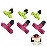 ZRWLZT 6 Pezzi Chiudi Sacchetti Mollette Clip di Tenuta Plastica Clip per Sacchetti Cucina Mollette in Acciaio Inox Patate al caffè E Sacchetto per Alimenti Tutti I Tipi di Sacchetti di Plastica