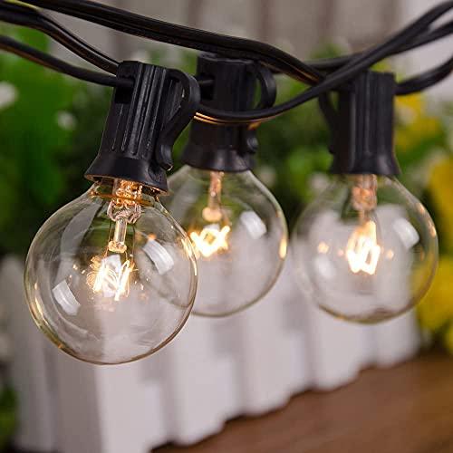 SanBon Outdoor Lichterketten, 25ft G40 Globe Lichterketten mit 28 klaren Glühbirnen (3 Ersatz), wasserdichte Terrassenlichterketten Anschließbare Hängeleuchten Dekorativer Hinterhof Veranda Garten