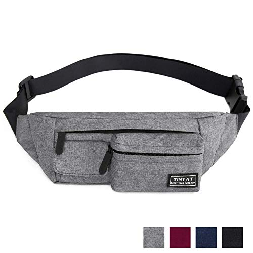 LIVACASA Sports Waist Bag Water Resistant Bumbags with Multiple Pockets for Women Men Fanny Pack Lightweight Adjustable Strap Hip Pouch Waist Bag for Running Cycling Light Grey One Size