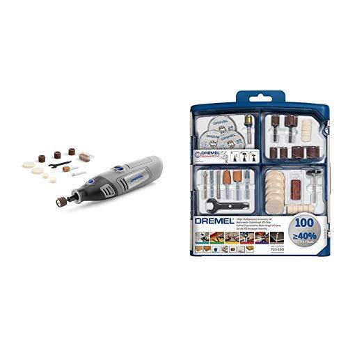 DREMEL 7750-10 Akku-Multifunktionswerkzeug  (4,8 Volt), 10 Zubehöre, Ladegerät + Dremel 100-teiliges Mehrzweck Zubehörset (100x Zubehör, Spannzangenschlüssel, Aufbewahrungsbox)