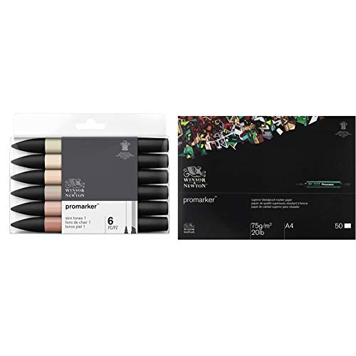 Winsor & Newton Promarker 6 Pennarelli Toni Tinta Carne 1 & Blocco Carta Bleedproof A4 70G 50 Fogli