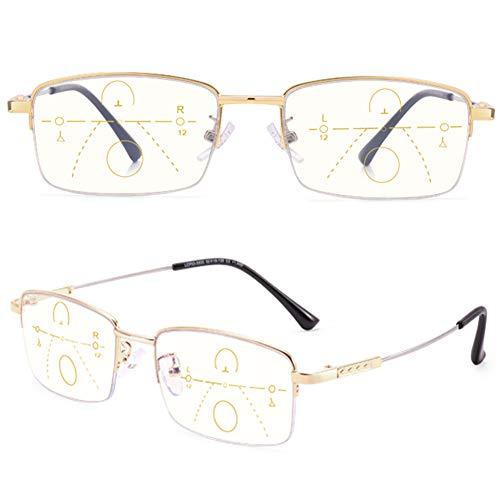 Gafas de Lectura Progresivas Multifocales de Medio Marco,Lectores de Computadora Unisex con Bloqueo de Luz Azul,Gafas para Presbicia de Clear Vision(Dioptría: +2.0)