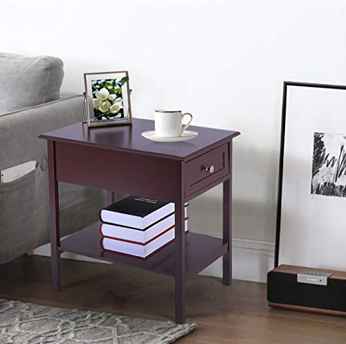 """Narrow/Slim End Tables with Drawers/Shelf Sofa/Chair Side Bedside Table/Cabinet Living Room Bedroom Nightstand Espresso 13.78""""L x 21.65""""W x 23.62""""H"""