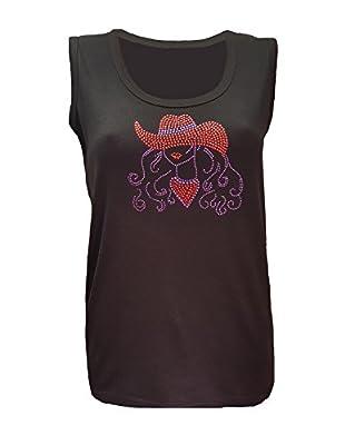 Red Hat Cowgirl Design Rhinestone Black Tank Top Womens Shirt (Md)