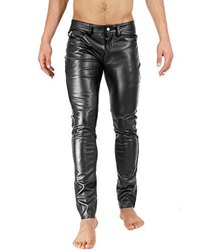 Bockle Super Skinny Faux Schwarze Herren Kunstlederhose eng Stretch Lederröhre, Size: W38/L36