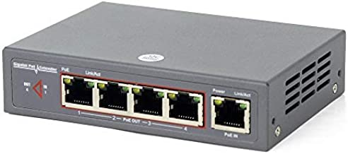 60W Gigabit Network PoE Extender, CENTROPOWER Ethernet Extender with 4 Port PoE+ Switch Support IEEE 802.3 af/at