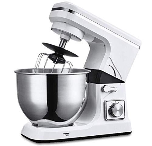 GPWDSNStand Power deeg mixer, mixer 5L kom cake mixer Hook Smoothie Chef Professionista 1000 W elektrische keuken (wit)