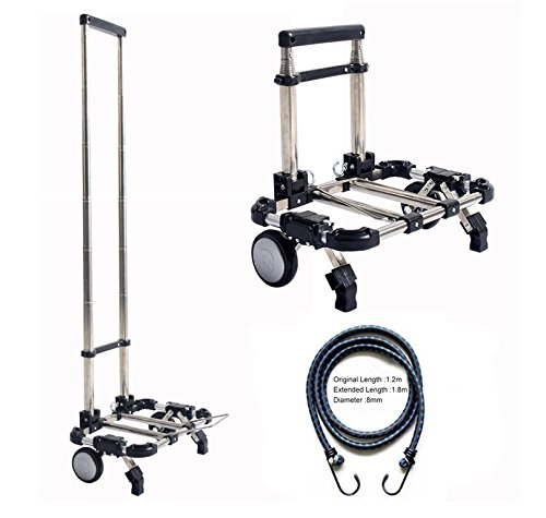Eunicom - mango telescópico de carrito resistente y duradero portátil plegable carrito...
