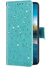 Uposao Funda con Tapa para iPhone 7 Plus/8 Plus Cuero Piel Sintética,Bling Glitter Purpurina Diamante Funda Flores de Cerezo Gato Patrón Billetera Bookstyle Flip Case Carcasa Caja Teléfono,Verde
