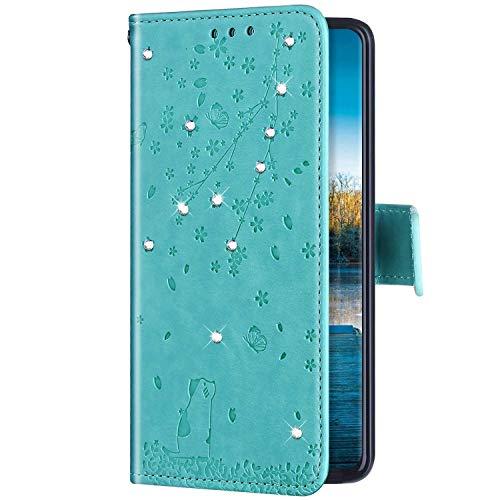 Uposao Kompatibel mit Huawei P20 Lite Hülle Wallet Handyhülle Strass Diamant Glänzend Bling Kirschblüte Blumen Muster Leder Tasche Schutzhülle Brieftasche Klapphülle Flip Case,Grün