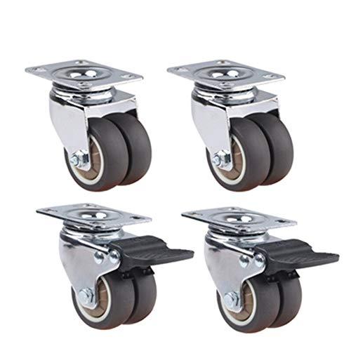 Ruedas Ruedas giratorias giratorias de 4 unids 1.5'/ 2' Rodillo de goma suave de alta resistencia de Rodillo de goma con freno para la plataforma Trolley Reemplazo de ruedas giratorias de estilo