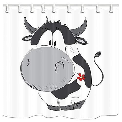 Badewanne Vorhänge Südafrikanisches Wildes Weißes Nashorn Duschvorhang Anti-Schimmel 3D Digitaldruck Mit 150*180Cm Top Qualität Wasserdicht, Anti-Schimmel-Effekt 3D Digitaldruck Inkl. 12 Duschvo
