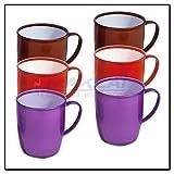 DYNASTY - Set di 6 tazze colorate assortite in plastica senza BPA, per tè, caffè, con manico