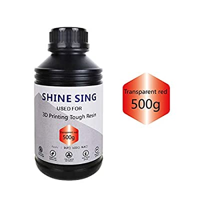 SHINE SING 3D Rapid Resin LCD UV-Curing Resin 405nm Standard Photopolymer Resin for LCD 3D Printing 500Gram Transparent red