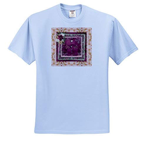3dRose Beverly Turner Christmas Design - Image of Christmas Hearts, Poinsettias, Pearls, Paper Design, Rose - Youth Light-Blue-T-Shirt Small(6-8) (ts_338527_60)