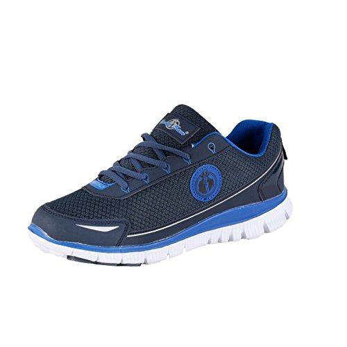 Uncle Sam Herren Leichtlaufschuhe Sneaker Sportschuhe Joggingschuhemit Kreis-Logo, Schwarz/Blau, Größe:44, Farbe:Navy