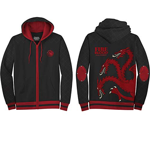 HBO'S Game of Thrones Men's Got Fire and Blood Hoodie, Black, X-Large