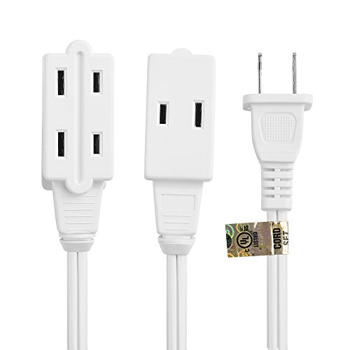 Cable Matters 2-Pack 16 AWG 2 Prong Extension Cord (3 Outlet Extension Cord) with Tamper Guard White in 6 Feet