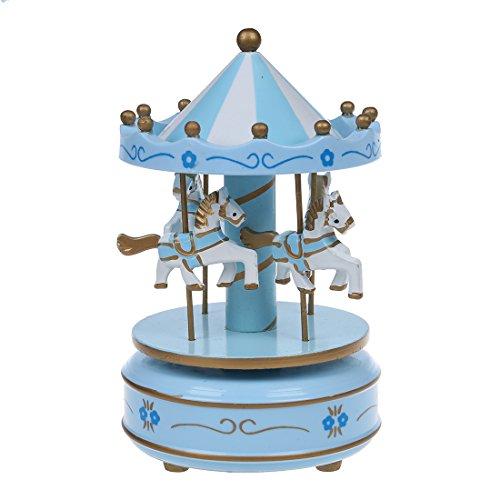 SODIAL Carrusel Musical De Caballo Juguete De Carrusel De Madera Caja De Música para Los Ni?o Bebé Azul Claro