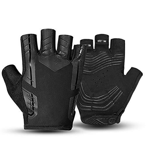 Guantes de bicicleta mujeres hombres guantes cortos de gel negro para bicicleta, accesorios Mitad de los dedos manoplas, guantes deportivos para la protección de ciclistas, adultos, niños, equipo de c