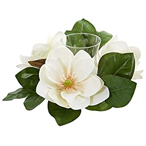 Nearly Natural 13-in. Magnolia Artificial Candelabrum Silk Arrangements, White