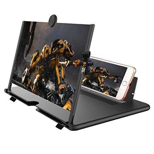 Lente di ingrandimento del Telefono, Amplificatore dello Schermo Mobile a 12 Pollici 3D per i Film, i Video, Il Gioco, 2-6 Volte l ingrandimento Antiriflesso per Tutti i Telefoni (nero1)