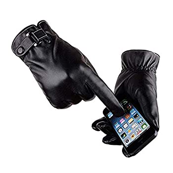 VICSPORT Men s Touchscreen Texting Leather Gloves Winter Warm Black Soft Gloves Cashmere Lining
