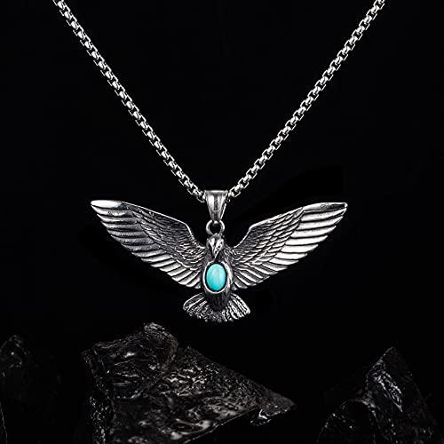Colgante de alas de águila de estilo europeo y americano para hombres diseño personalizado con incrustaciones de joyería de acero de titanio azul turquesa regalos collar regalo de cumpleaños