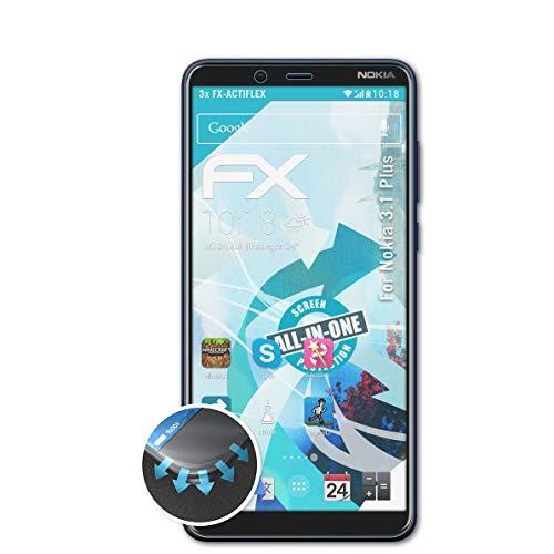 atFolix Schutzfolie kompatibel mit Nokia 3.1 Plus Folie, ultraklare & Flexible FX Bildschirmschutzfolie (3X)
