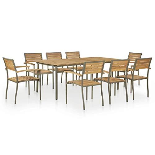 vidaXL Gartenmöbel 9-TLG. Akazien Massivholz Stahl Sitzgruppe Gartengarnitur