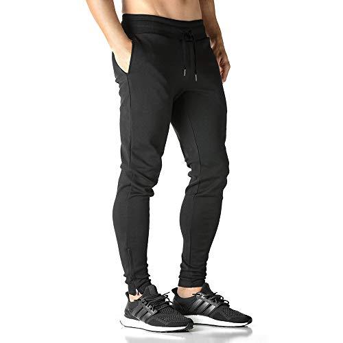 BROKIG Herren Hosen Jogginghosen Reißverschluss Sweatpants Freizeithosen Sporthose Trainninghose Jogger Gym Fitness Pants Chino (M, Schwarz)