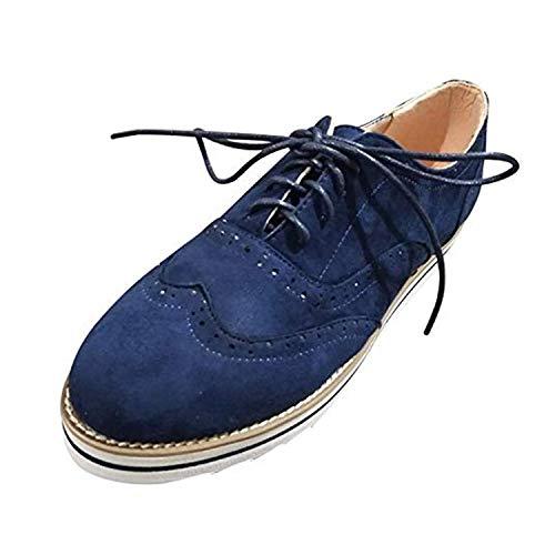 Zapatos Oxford Mujer Casual Derby Cordones Calzado Plano Vestir Brogue