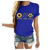Xinantime Womens Sunflower Print Tee Shirts Casual Letter Print Round Neck Short Sleeve Summer Top Blouse Loose T-Shirt (b-Blue,Medium)