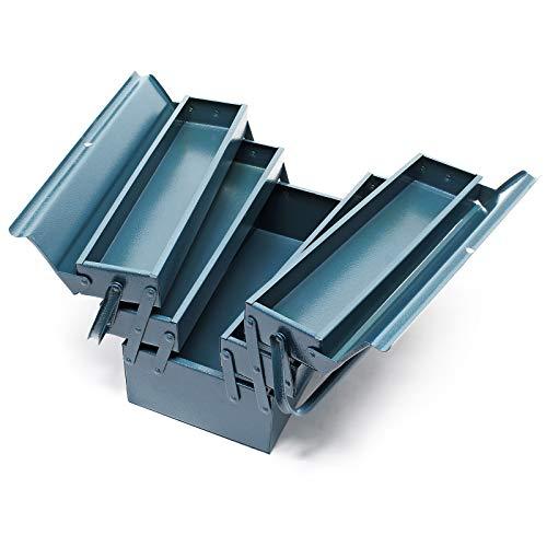 Werkzeugkiste 420x200x200mm aus Stahl mit 5 Fächern Werkzeugkasten mit Handgriff Werkzeugbox