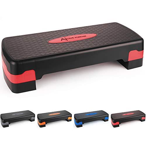 ActiveForever Stepper aerobico di Allenamento Regolabile nella Piattaforma per Esercizi e Fitness Step Trainer Stepper con Riser Regolazione 10 cm / 15 cm (Nero Rosso)