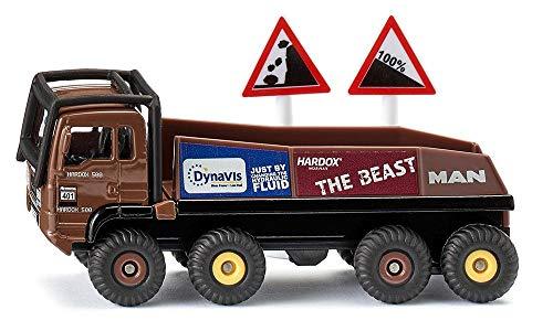Siku 1686, HS Schoch 8x8 Man Truck-Trial, Metal/plástico, 1:87, marrón, Incluye 2 señales de Advertencia, combinables con Modelos Siku en la Misma Escala