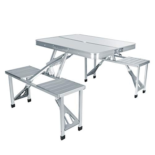 naspaluro Folding Camping Table and Chairs Set, 86x67CM Folding Picnic Table with 4 Seats, Portable Foldable Trestle Table for Storage, Awnings, Hiking BBQ Party Kitchen Patio Beach, Indoor & Outdoor