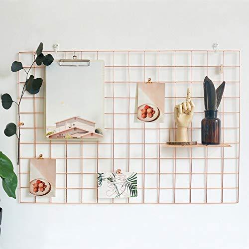 GBYAN 2 Stück Wandgitter Regal Eisen Gitter Pinnwand DIY Fotowand Dekoration für Fotocollage und Postkarte, 65x45cm (Roségold)