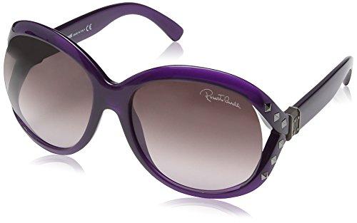 Roberto Cavalli - Occhiali da sole RC598S Wayfarer, Donna, Transparent Violet & Ruthium Frame / Dark Violet radient