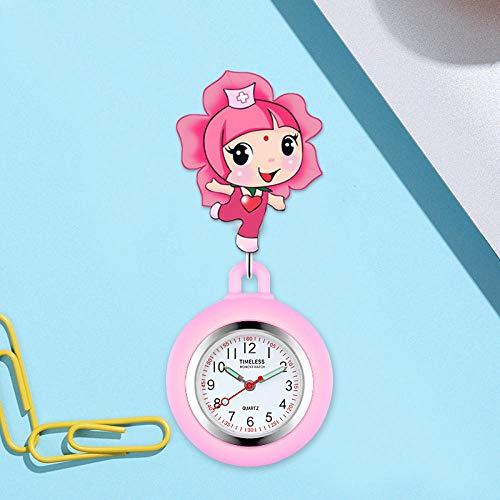 YYMY Reloj de Enfermera Resistente,Hangar de Bolsillo escalable para Enfermeras, Reloj de Bolsillo con luz Nocturna de Silicona para médicos, Rosa 5
