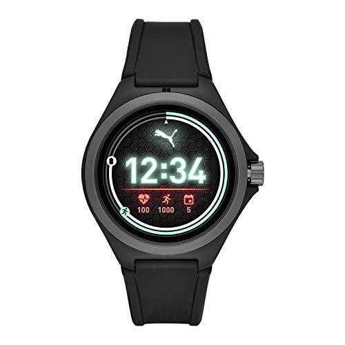 PUMA Sport - Herren 44 mm Smartwatch mit Herzfrequenz, schwarzes Silikonband, Leichter Touchscreen - PT9100