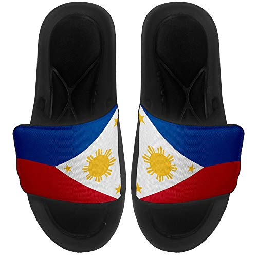 Cushioned Slide-On Sandals/Slides for Men, Women and Youth - Flag of Philippines Filipino,Pinoy - Philippines Flag - Medium